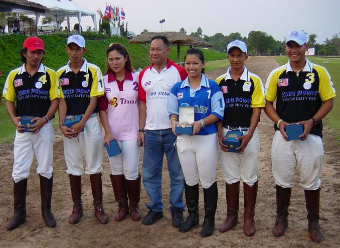 Jameley with the Malaysian team and some lady polo players
